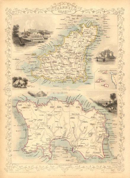 CHANNEL ISLANDS. St Peter Port view. Jersey & Guernsey. TALLIS/RAPKIN 1851 map