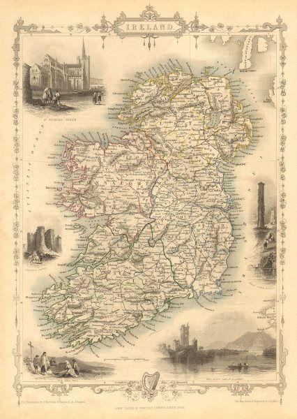 Associate Product IRELAND. St Patrick's Dublin Killarney round tower views.TALLIS/RAPKIN 1851 map
