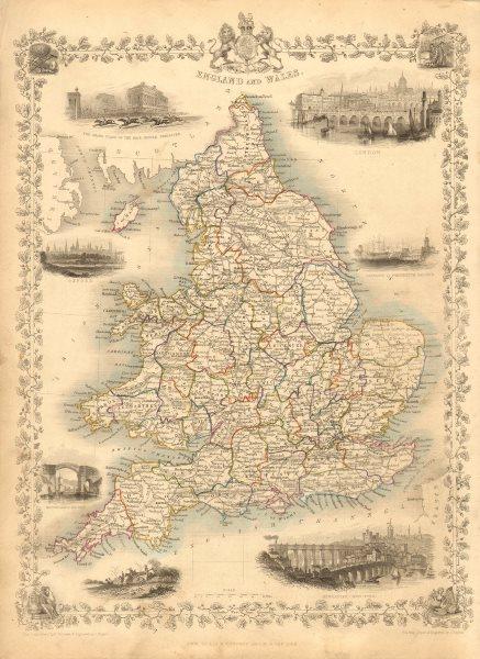 Associate Product ENGLAND & WALES. London Newcastle Doncaster races views. TALLIS/RAPKIN 1851 map