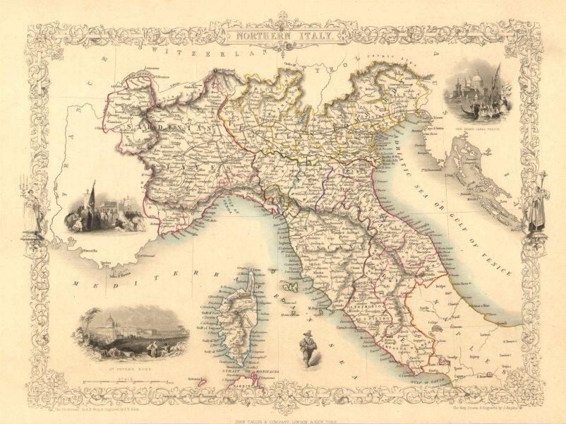 Associate Product NORTHERN ITALY. Sardinian/Papal States.Venetian Lombardy.TALLIS/RAPKIN 1851 map