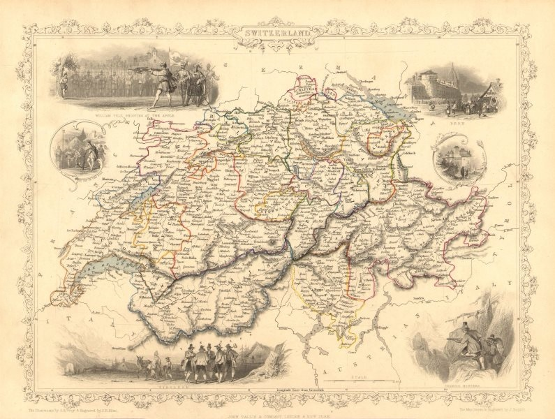Associate Product SWITZERLAND. William Tell shooting apple. Cantons. TALLIS/RAPKIN 1851 old map