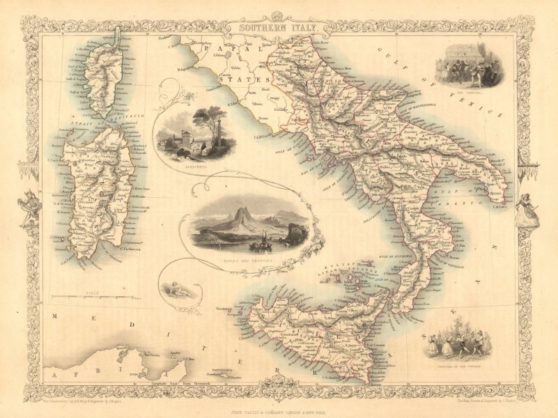 Associate Product SOUTHERN ITALY. Naples/Vesuvius. Sicily Sardinia Corsica.TALLIS/RAPKIN 1851 map