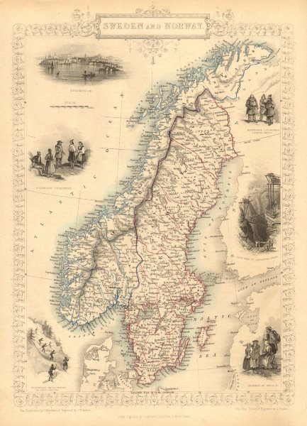 Associate Product SWEDEN & NORWAY. Scandinavia.Norwegian army ski regiment.TALLIS/RAPKIN 1851 map