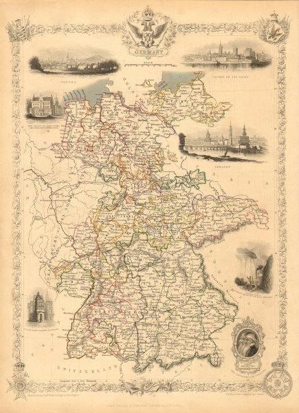 Associate Product GERMANY. with Dresden, Coburg & Hartz silver mines views.TALLIS/RAPKIN 1851 map
