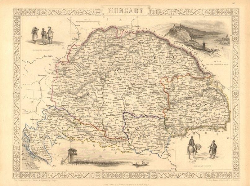 Associate Product HUNGARY. Buda/Pesth view. Banat Sclavonia Transylvania. TALLIS/RAPKIN 1851 map