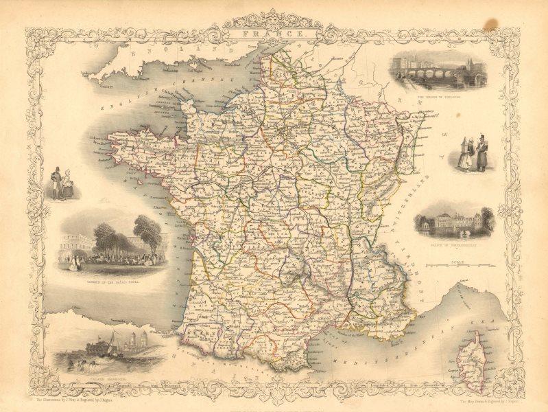 Associate Product FRANCE. Provinces. Without Comté de Nice & Savoy/Savoie. TALLIS/RAPKIN 1851 map