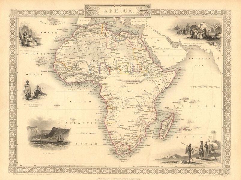 Associate Product AFRICA. Shows Mountains of Kong/the Moon. Caravan routes.TALLIS/RAPKIN 1851 map