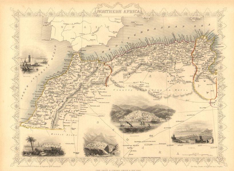 Associate Product NORTHERN AFRICA. Morocco Tunisia Algeria. Caravan routes.TALLIS/RAPKIN 1851 map