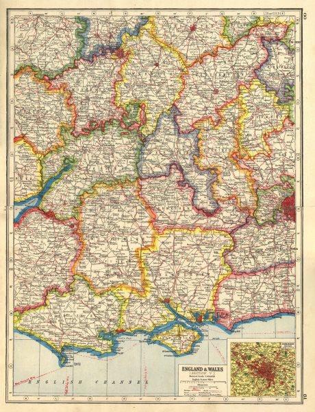 England South Midlands Inset Birmingham Harmsworth 1920 Old