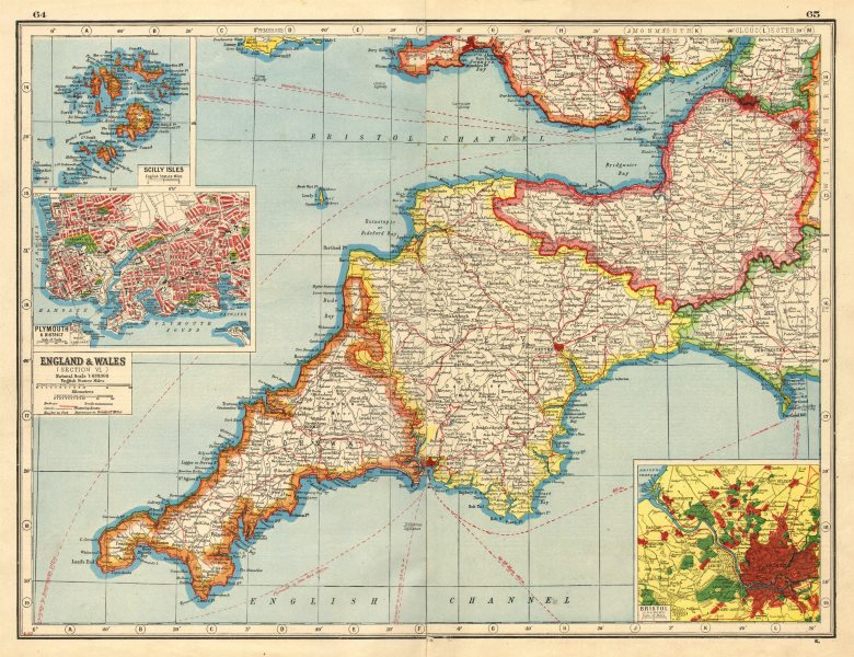 Map Of England Plymouth.Details About South West England Devon Cornwall Somerset Inset Plymouth Bristol 1920 Map