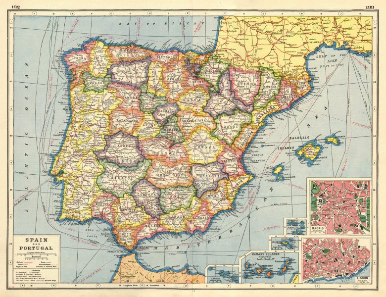 Map Of Spain Portugal.Details About Iberia Spain Provinces Portugal Telegraph Cables Lisbon Madrid 1920 Map