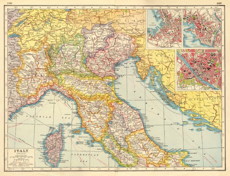 Map Of Provinces Of Italy.Details About Italy North Provinces Railways Roads Trieste Genoa Florence Plans 1920 Map