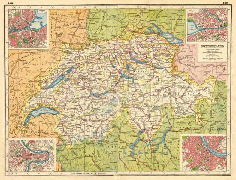 SWITZERLAND Geneva Genf Berne Bern Zurich Zürich Basel Basle plans 1920 map