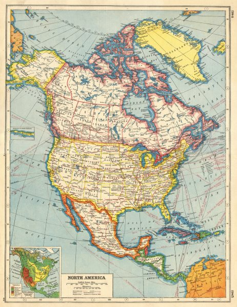 Details about NORTH AMERICA. Canada provinces. US states. Mexico. Inset  Vegetation 1920 map
