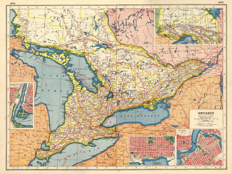 Details About Ontario Niagara Falls Toronto Ottawa Plans Railroads Steamship Routes 1920 Map