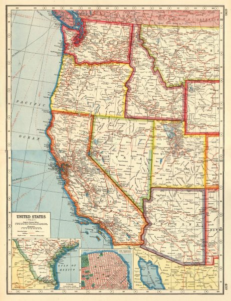 Details about USA WEST. California AZ UT NV WA OR ID. San Francisco. United  States 1920 map