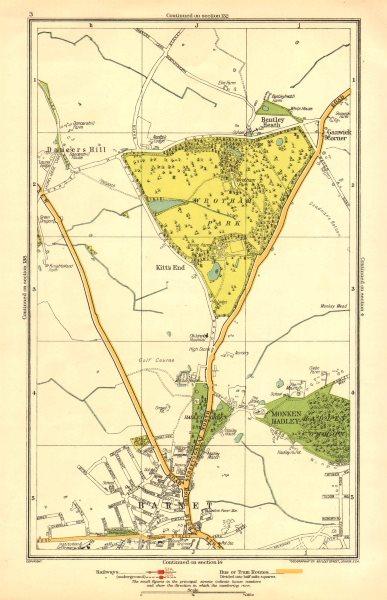 Associate Product BARNET. Monken Hadley Wrotham Park Kitts End Dancer's Hill Ganwick Cnr 1933 map