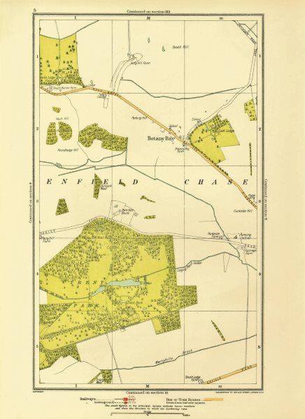 Associate Product ENFIELD CHASE. Botany Bay Trent Park Southgate East Barnet 1933 old map