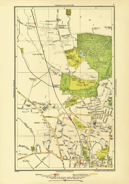 Associate Product ENFIELD. Clay Hill Chase Side Gordon Hill Crews Hill Brigadier Hill 1933 map