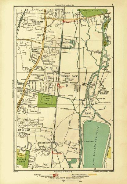 Associate Product ENFIELD. Lock Wash Highway; Waltham Cross Brimsdown Freezy Water 1933 old map