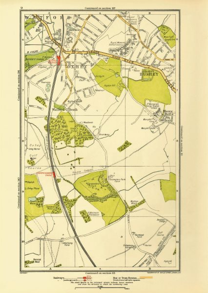 Associate Product OXHEY. Bushey Watford Carpender's Park Merry Hill 1933 old vintage map chart