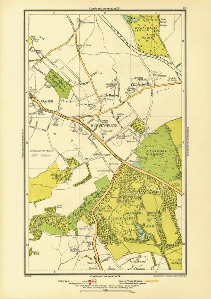 Associate Product HERTS. Busheyheath Caldecote Hill Clay Hill Little Bushey Stanmore Cmn 1933 map