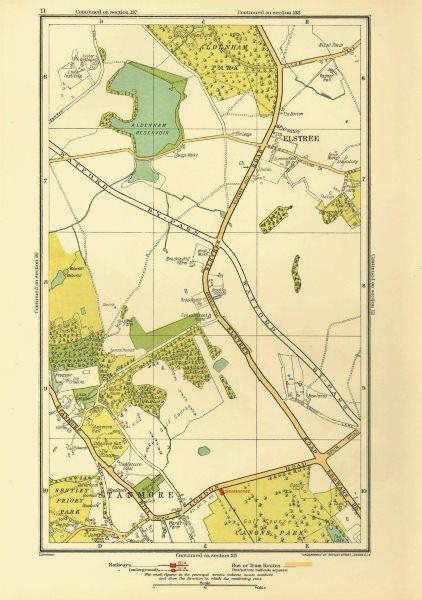 Associate Product HERTS. Elstree Stanmore Edgware Aldenham Park Canons Park 1933 old vintage map