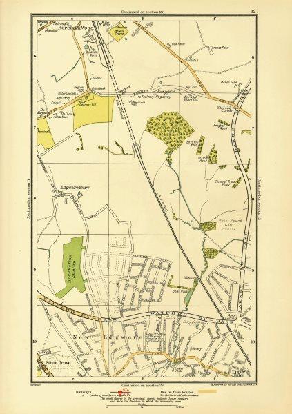 Associate Product LONDON. Edgware Bury New Edgware Stone Grove Upper Hale 1933 old vintage map