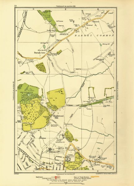 Associate Product LONDON. Arkley Barnet Gate Highwood Hill Mill Hill 1933 old vintage map chart