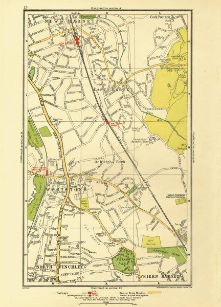 Associate Product EAST BARNET. Friern Barnet;Whetstone Finchley Cockfosters Totteridge 1933 map