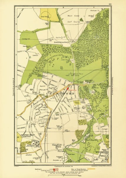 Associate Product CHINGFORD. Woodford Wells Epping Forest Sewardstonebury Suffield Hatch 1933 map