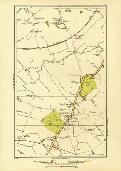 Associate Product ESSEX. Chigwell Loughton Debden Patch Park River Roding 1933 old vintage map