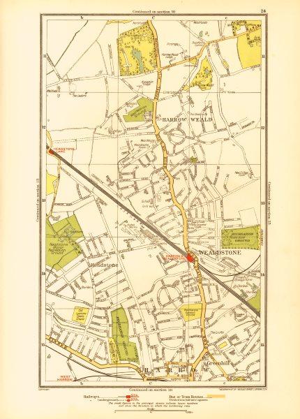 Associate Product HARROW. Stanmore Wealdstone Greenhill Weald Headstone Lane 1933 old map