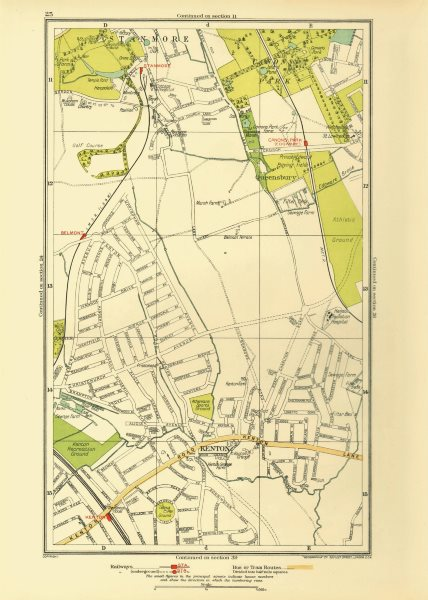 Associate Product KENTON. Belmont Stanmore Canons Park Edgware 1933 old vintage map plan chart