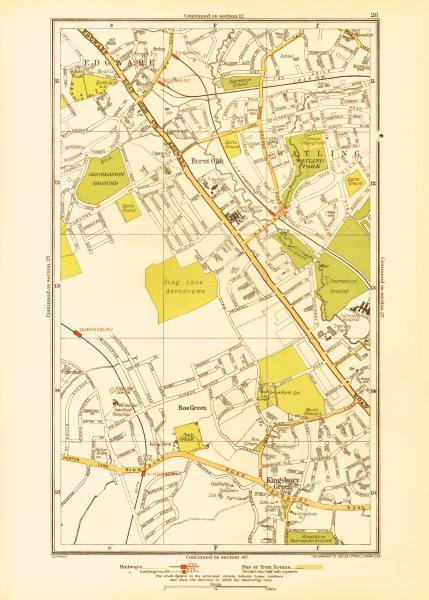 Associate Product EDGWARE. Burnt Oak Kingsbury Green Queensbury Stanmore Watling Roe Grn 1933 map