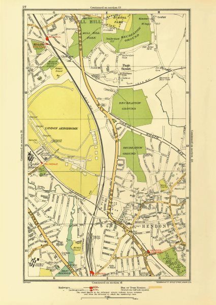 Associate Product HENDON. The Hyde Mill Hill Colindale Edgware Southfields 1933 old vintage map