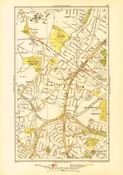 Associate Product FINCHLEY. Church End Hampstead Garden Suburb Mill Hill Hendon 1933 old map