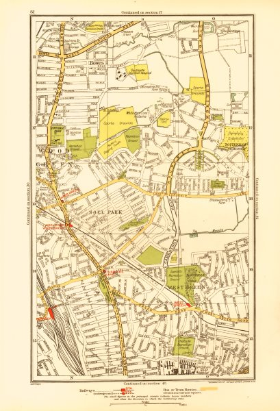 WOOD GREEN. Tottenham Bowes Noel Park West Green Turnpike Lane 1933 old map