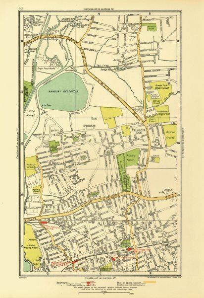 Associate Product LONDON. Chapel End Higham Hill Walthamstow Black Horse Road 1933 old map