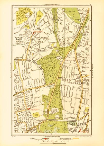Associate Product WOODFORD GREEN. Hale End Highams Park Snaresbrook Wanstead 1933 old map