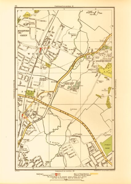 Associate Product LONDON. South Woodford Woodfood Bridge Wanstead Redbridge Ilford 1933 old map