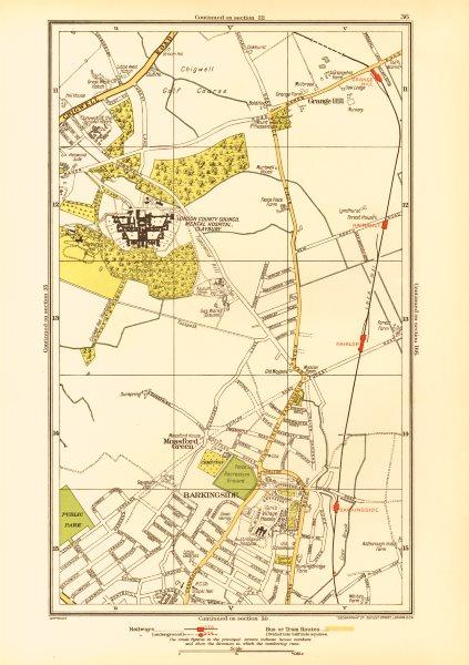 Associate Product LONDON. Barkingside Grange Hill Mossford Green Fairlop 1933 old vintage map