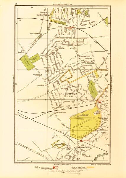 Associate Product NORTHOLT. South Ruislip Harrow Rayner's Lane Wood End Northolt Park 1933 map