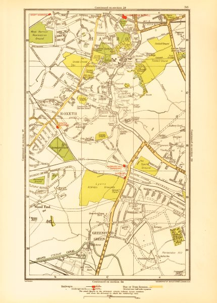 Associate Product LONDON. Greenford Green Harrow Harrow on the Hill Roxeth Sudbury Hill 1933 map