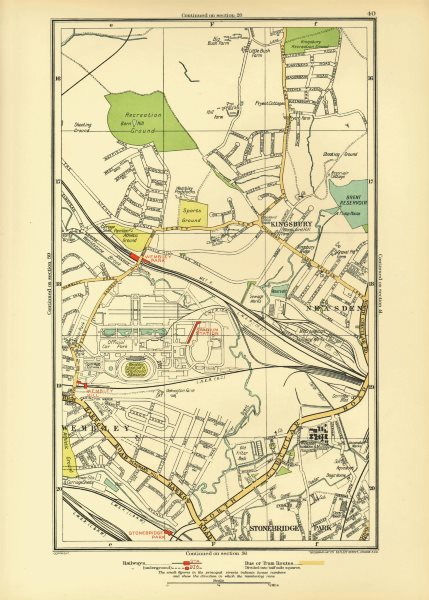 Associate Product WEMBLEY. Kingsbury Neasden Church End British Empire Exhibition 1933 old map