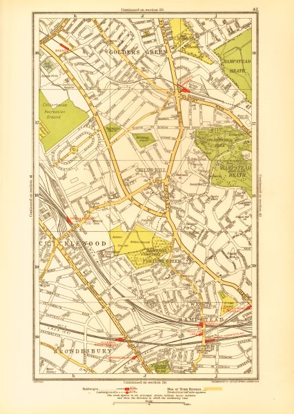 Associate Product CRICKLEWOOD. Brondesbury Fortune/Golders Green Hampstead Child's Hill 1933 map