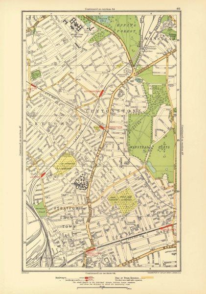 Associate Product LEYTON LEYTONSTONE. Forest Gate Stratford Wanstead Woodgrange Park 1933 map