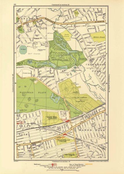 Associate Product LONDON. Aldersbrook Manor Park Stoke Newington Beehive Newbury Park 1933 map