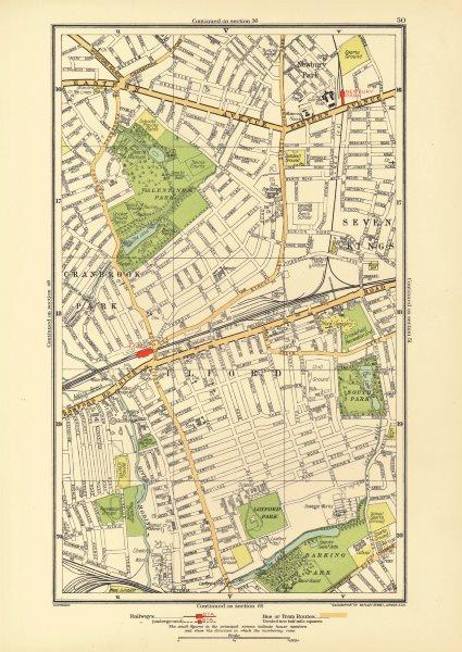 Associate Product LONDON. Cranbrook Park Ilford Newbury Park Seven Kings Barking Park 1933 map