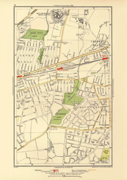 Associate Product LONDON. Becontree Goodmayes Seven Kings Chadwell Heath Longbridge Rd 1933 map